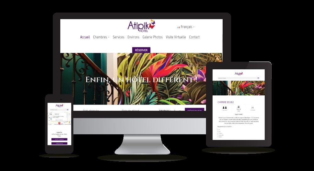 Atipik Hôtel - Site Internet Thème graphique en 5 langues